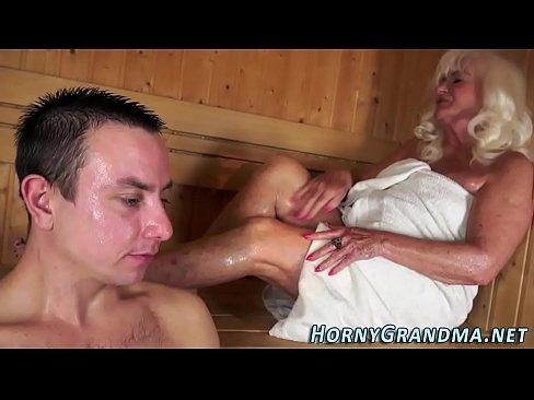 Jizz Mouthed Granny Sauna